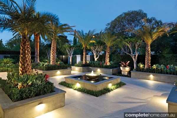 A tropical landscape design lit up at night with LED lighting.