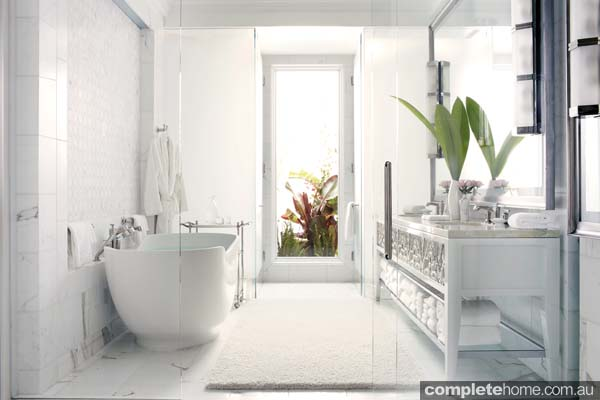 A white glass bathroom in the Beverly Hills Hotel.