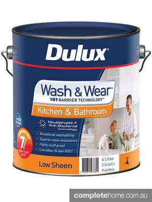4L Dulux Wash & Wear Kitchen & Bathroom Low Sheen.