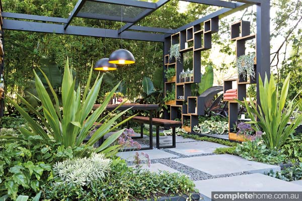 Contemporary outdoor room in the Cube2 backyard.
