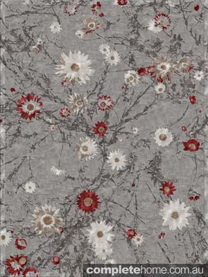 Grey and red floral rug by Jenny Jones