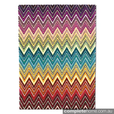 Colourful missoni zig-zag rug.