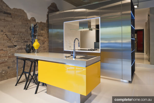 Yellow steel kitchen trend from Sydney Kitchens