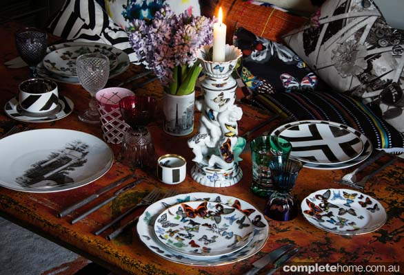 Eclectic tableware found in Sacha Walckhoff's apartment in Paris.