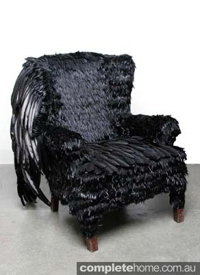 Artwork: black feather chair