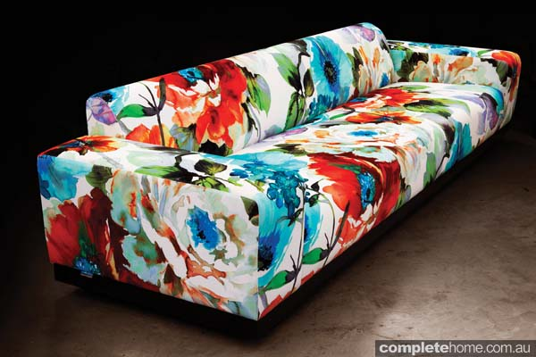 Spring Style: gardenia floral couch with bright colours