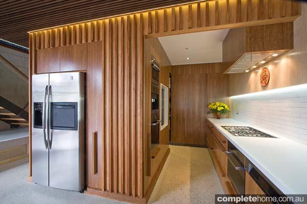 A warm timber kitchen design.