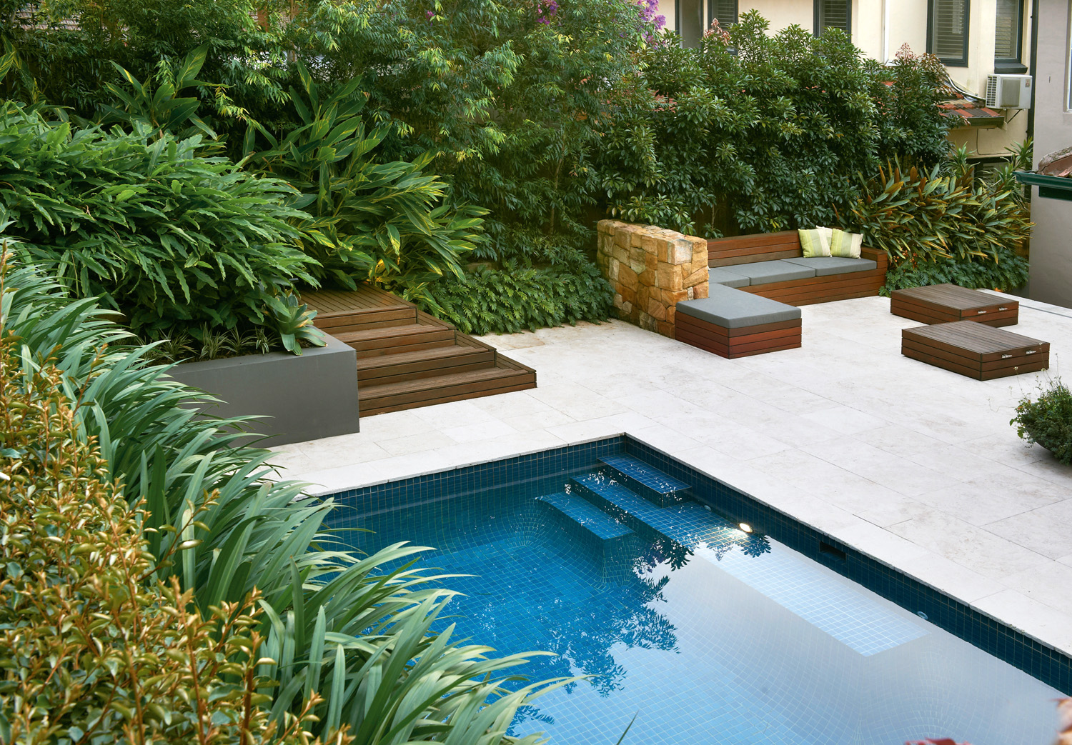 Simply stylish a classic pool and landscape design for Pool and landscape design