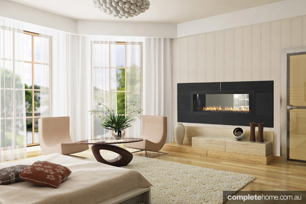 Doubled sided gas fireplace Jetmaster living room