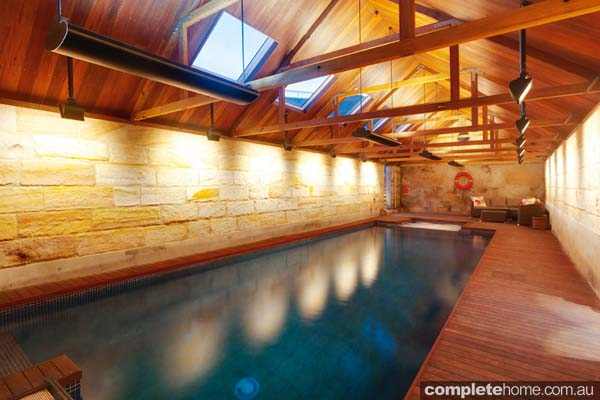 A unique indoor lap pool from Sunrise Pools.