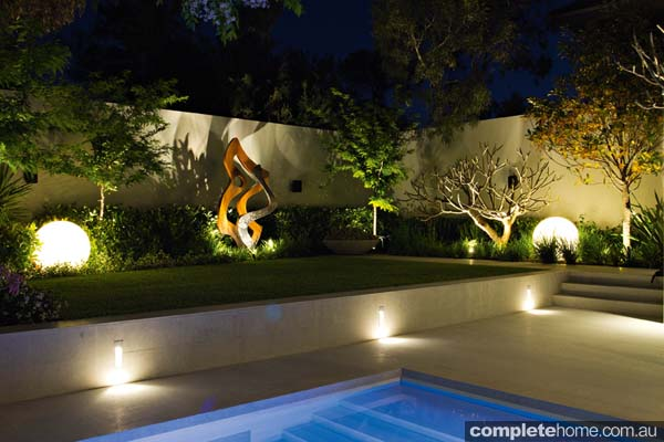 Contemporary lighting in a costal landscape design from Tim Davie Landscaping.