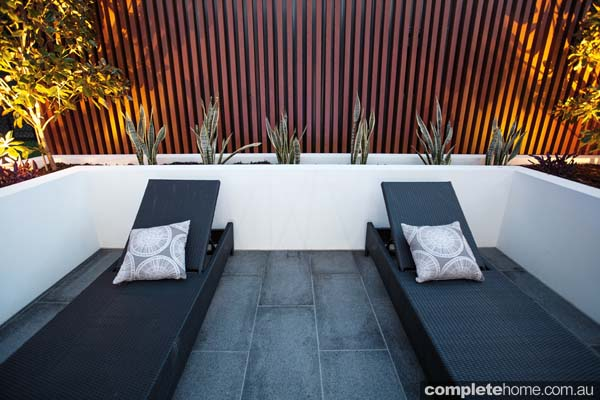 Modern and dark pool deck chairs