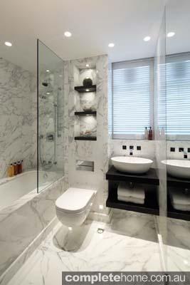 Neutral marble bathroom design by Kelly Hoppen