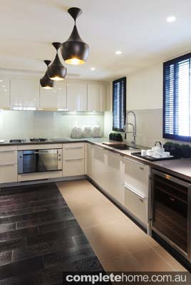 Kitchen Design with hardwood shutters and neutral colour scheme