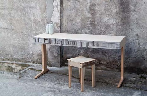 Recycled newspaper wood table and  stool