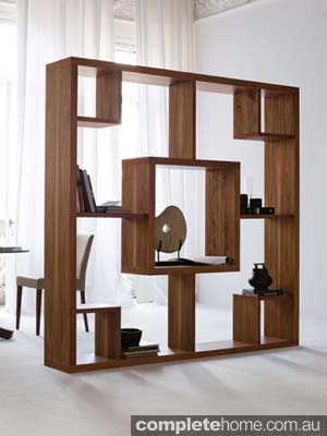 sleek geometric wood bookcase