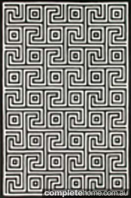 Geometric style black and white corfu rug