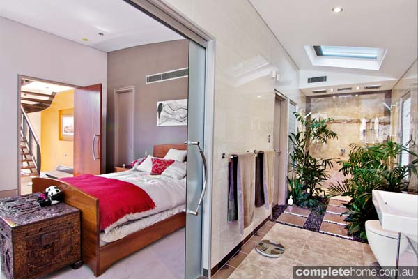 modern stylish bedroom and ensuite