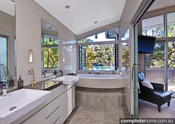 relaxed bathroom style with natural tones and lighting