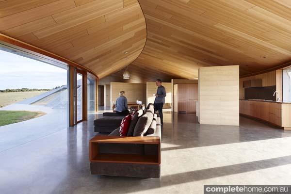 Modern Lounge Grand Designs Australia Inverloch sand dune house
