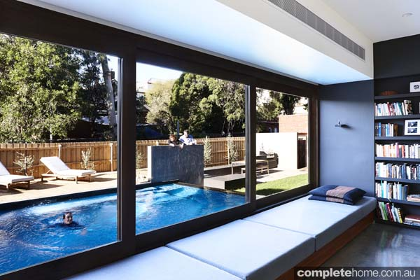 modern pool area window seat