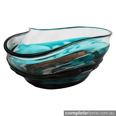 Turquoise Chocolate Swirl Glass Bowl