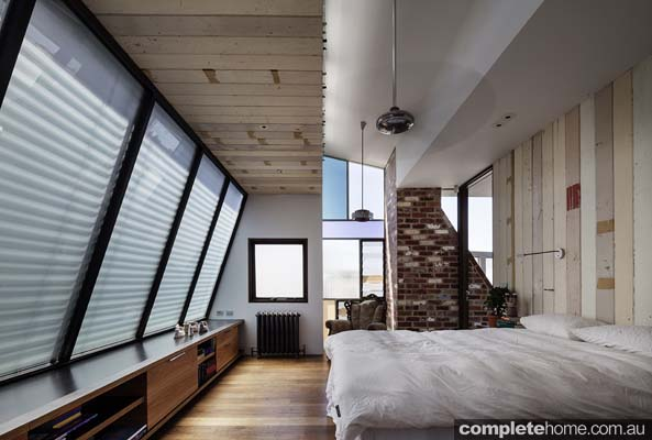exposed brick work tilted glass roof