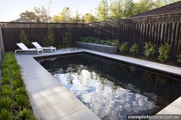 black tiled interior pool