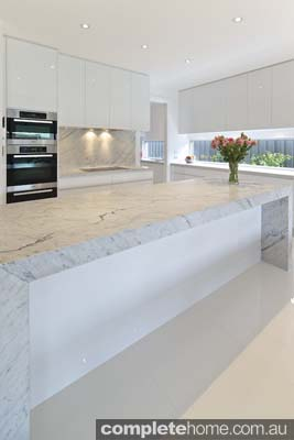 Carrera white kitchen - clean and uncluttered