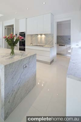 Carrera white kitchen - Carrara marble benchtop