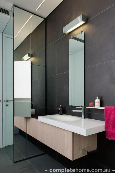 mirrored cabinet stylish bathroom