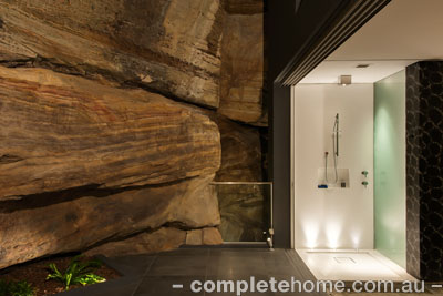 frameless shower area