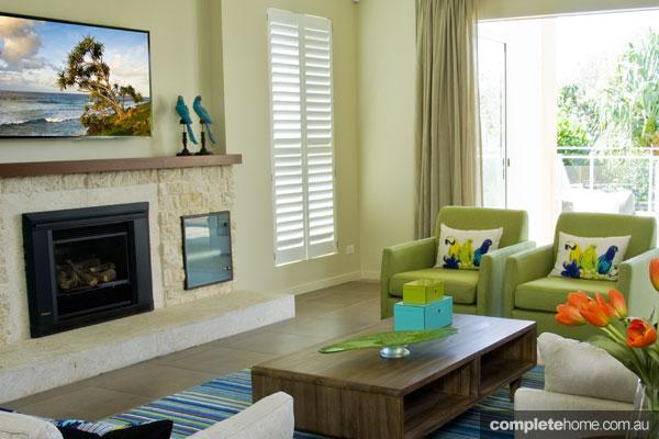 John Croft seaside home design - lime green armchair