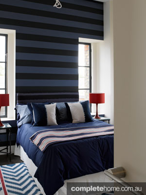 striped design bedroom