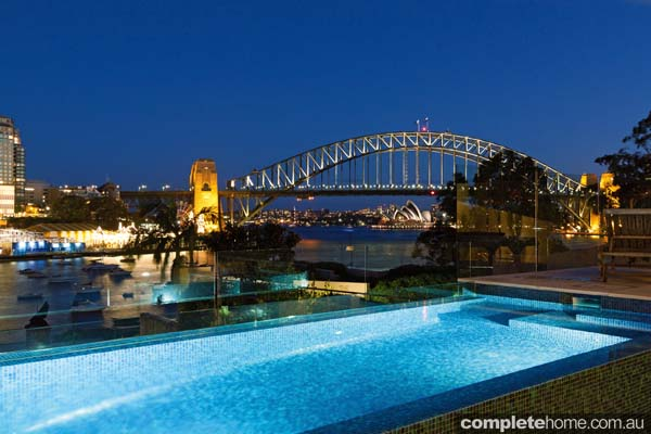 Crystal pools - gorgeous Sydney harbour-side pool night view