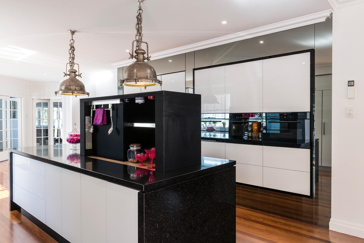 Pink White And Black Kitchen Design Completehome