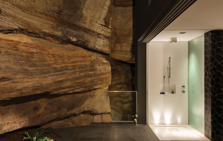 open shower corian walls
