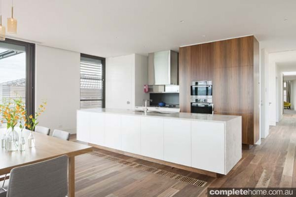 linear style timber floored contemporary kitchen