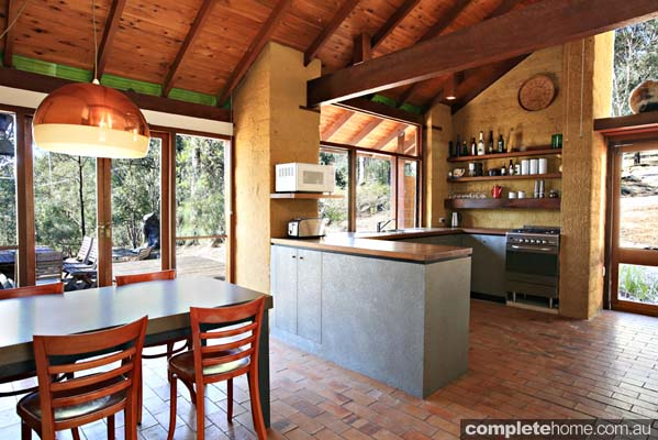 timber beamed kitchen