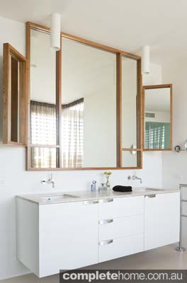 timber framed mirror geometric style