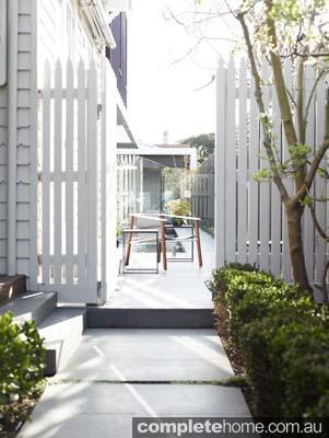 neutral fenced suburban garden