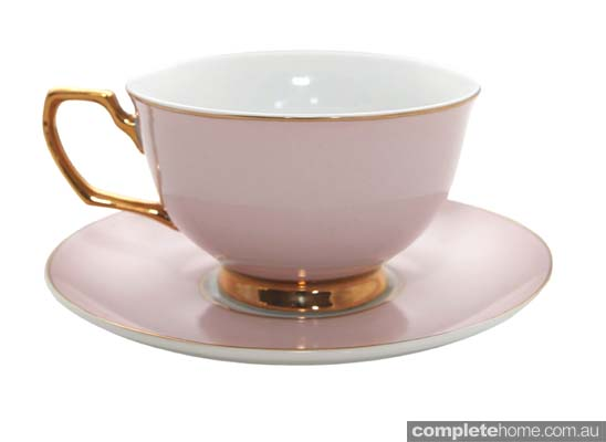 pink and gold teacup