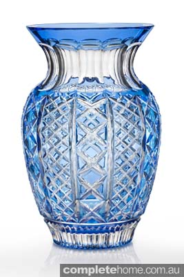 beautiful blue and clear glass vase homewares