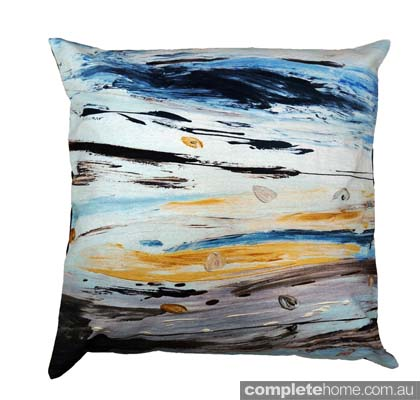 Chloe planinsek designs - blues and yellows cushion