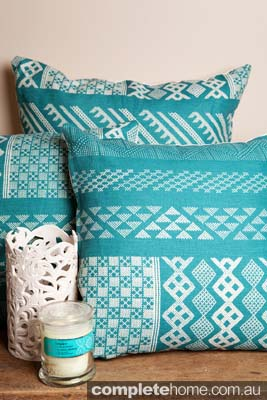 Aqua Blue cushion decor by Kathryn Ireland