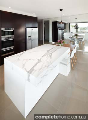 Art of Kitchens - white marble bench