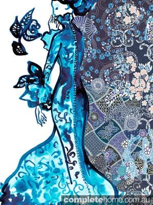 wall art print homewares decor blue