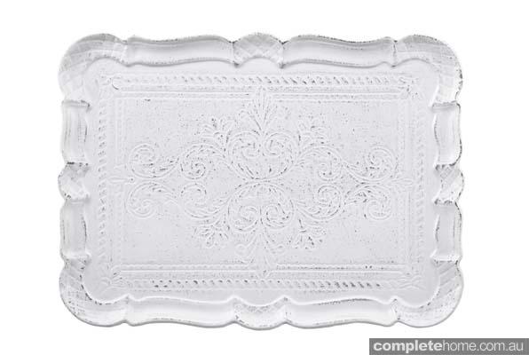 white ornate tray