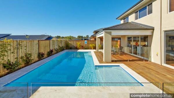 Backyard pool design decking