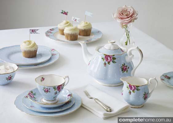 blue flower tea set homewares cute